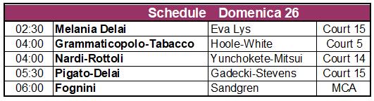 Schedule 26 gennaio